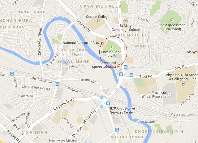 Liaqat Bagh Rawalpindi Location Map