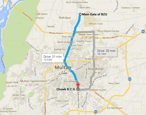 Metrobus Multan Route Map from BZU to BCG Chowk