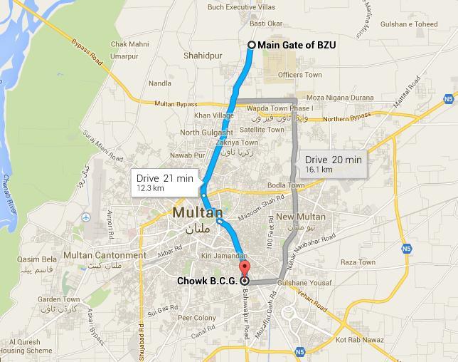 Metrobus Multan Route Map From Bzu To Bcg Chowk Paki Mag