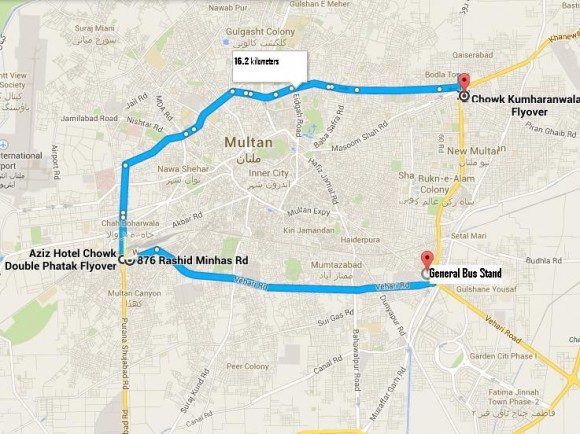Metrobus Multan Route Map from Chowk Kumharan Wala to GBS