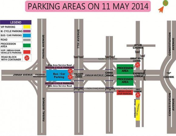 PTI Rally Islamabad Parking Area map