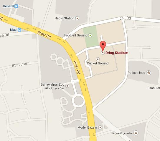 Dring Stadium Bahawalpur Location Map Opposite to Zoo