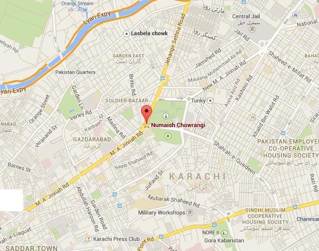 Karachi Numaish Chowrangi Location Map