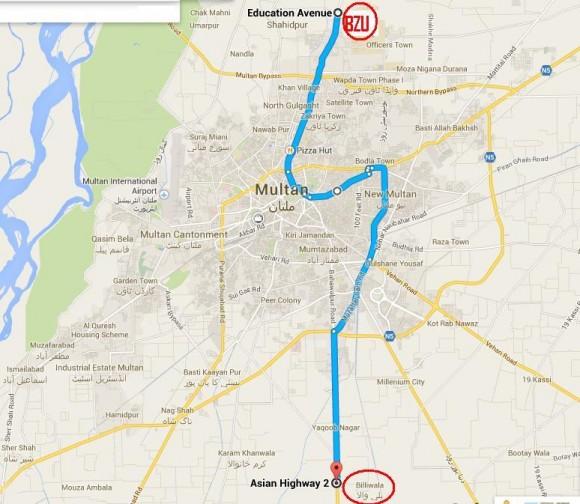 Multan Metro Bus Route Map - BZU (Bosan Road) to Billi Wala (Bahawalpur Road)