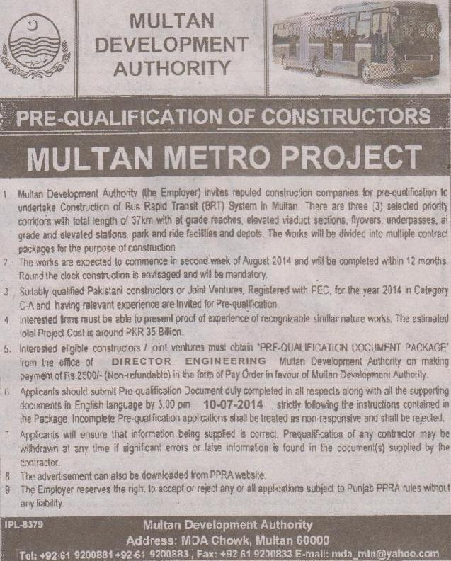 Multan Metro Project - Pre-qualification of Contractors