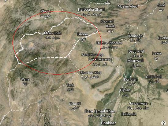 North Waziristan Satellite Location Map