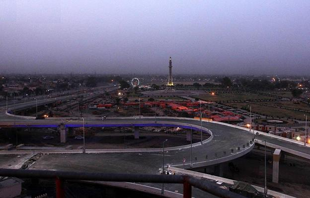 Azadi Chowk Lahore Flyover View with Minar-e-Pakistan