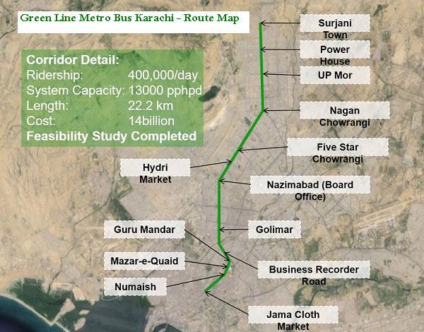 Karachi Metro Bus Route Map of Green Line