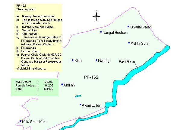 PP 162 Narang Mandi Sheikhupura Area Map