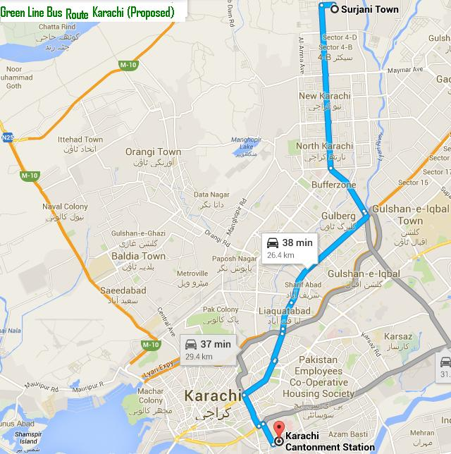 Metro Bus Islamabad: Proposed Route Map Karachi Green Line Bus (Surjani Town To