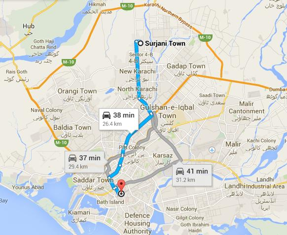Proposed Route Map of Karachi Green Line Bus Service