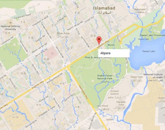 Aabpara Chowk Islamabad Location Map
