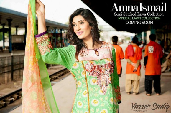 Semi stitched dress from mid summer collection 2014 designed by Amna Ismail.