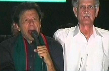 Imran Khan and Pervaiz Khattak Before March toward Red Zone