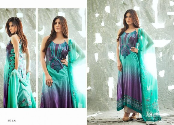Colorful crinkle lawn dress from Mid summer collection form Libas by Shariq Textiles