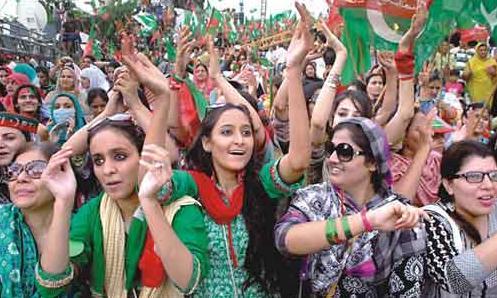 PTI Girls in Azadi March-Dharna Islamabad
