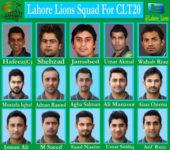 Lahore Lions Team Squad For CLT20 2014