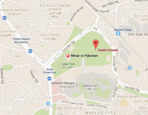 Minar-e-Pakistan Lahore Location Map - PTI Rally
