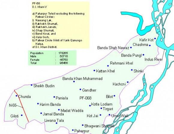PK 68  D I Khan Area Map