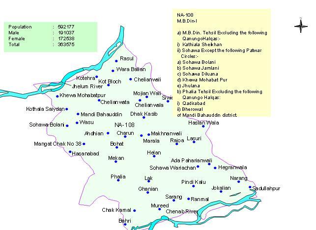 NA 108 Mandi Bahauddin Constituency Area Map