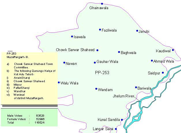 PP-253 Muzaffargarh Kot Addu Chowk Sarwar Shaheed (Chowk Munda) Area Map