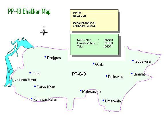 PP-48 Bhakkar Darya Khan Area Map