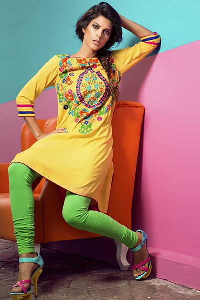 colorful casual wear dresses designed for winter season by Rang Ja clothing.