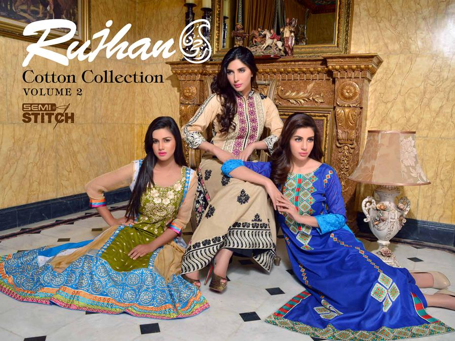 latest semi stitched cotton dresses by Rujhan Fabric from Fall Winter Collection