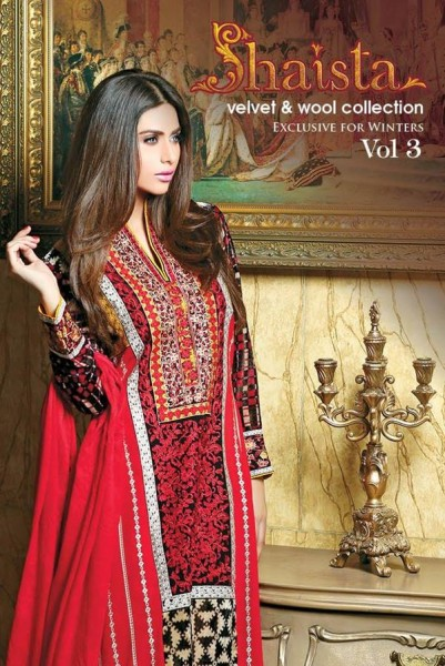 new designs of velvet and silk dresses for this winter season by Shaista Clothing.
