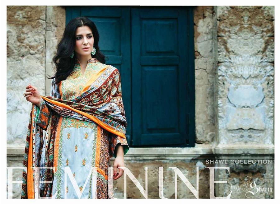 new warm shawl designs launched by Shariq Textile for this winter 2014