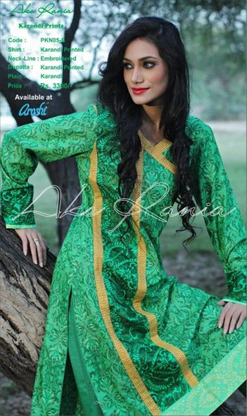 latest linen and karandi dresses with printed embroidery work by Aroshi Clothing for this winter season.