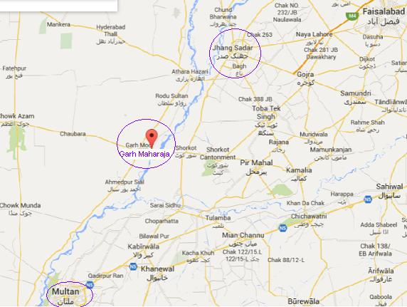 Garh Maharaja District Jhang Location Map