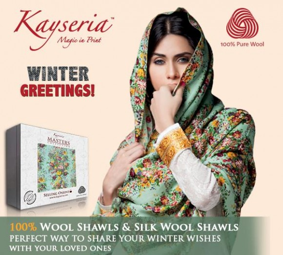 new variety of silk dresses and wool shawls launched by Kayseria for this winter collection