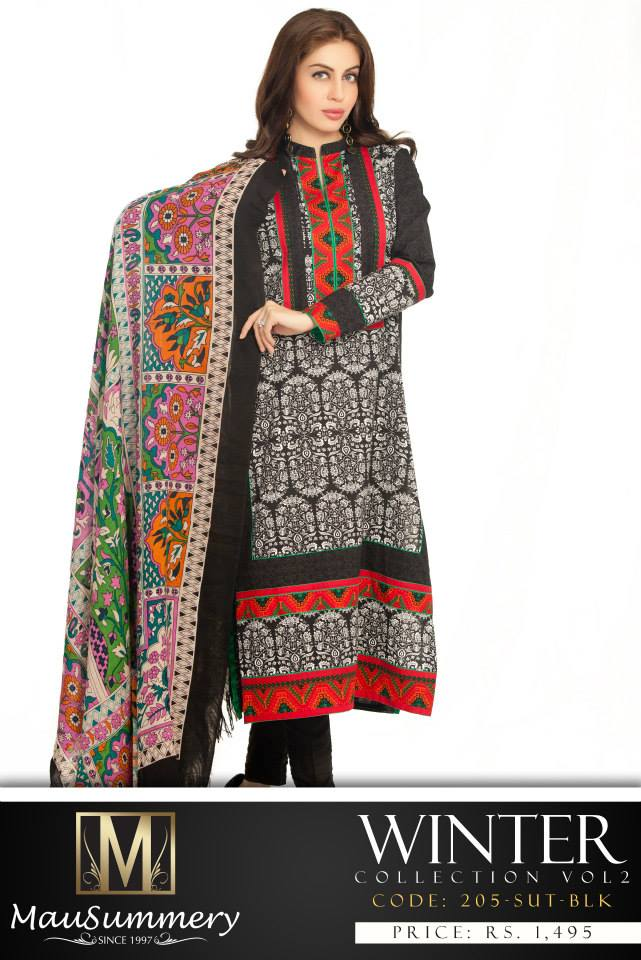 1498cf60d0 Fashion label Mausummery has lanched new range of khaddar dresses and  shawls in it's Winter Collection 2014-15 for young girls and women.
