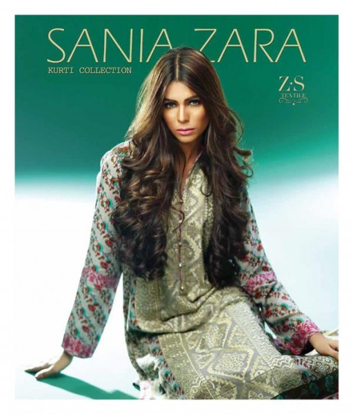 new embroidered kurti designed by Sania Zara for this winter collection launched by ZS Textiles.