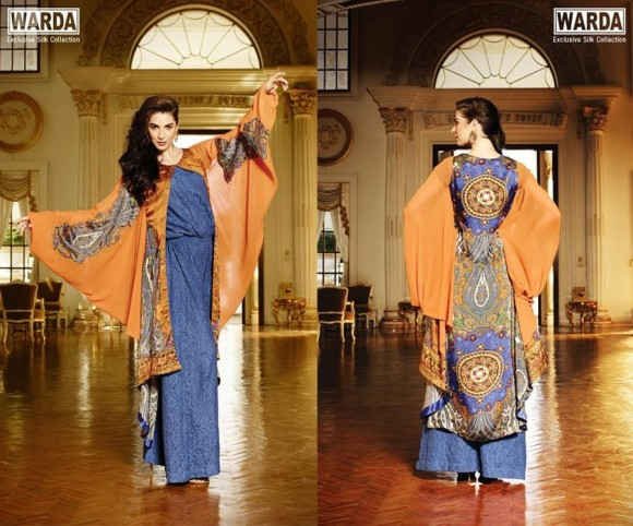 new collection silk suits for this winter season by Warda Designers.