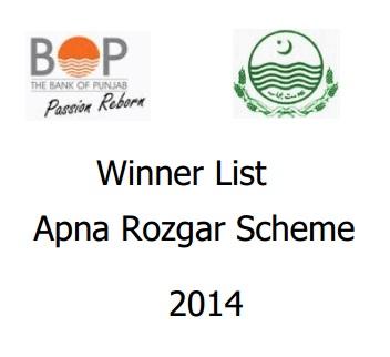 Balloting Result Apna Rozgar Scheme 2014
