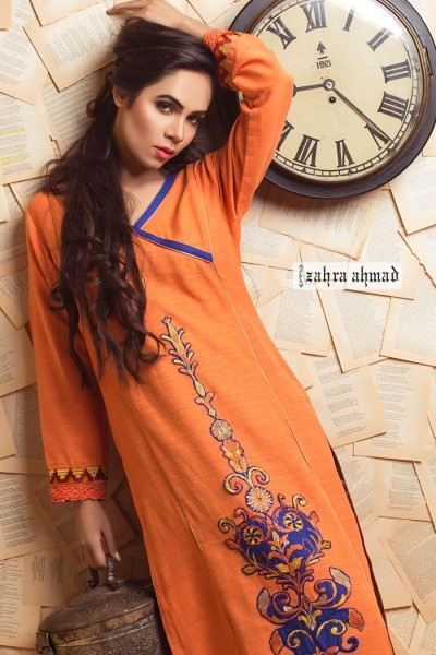 new line of partywear winter dresses designed by Zahra Ahmad.