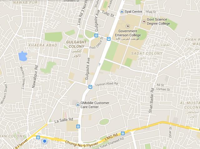 Location Map Gol Bagh Gulshat Multan