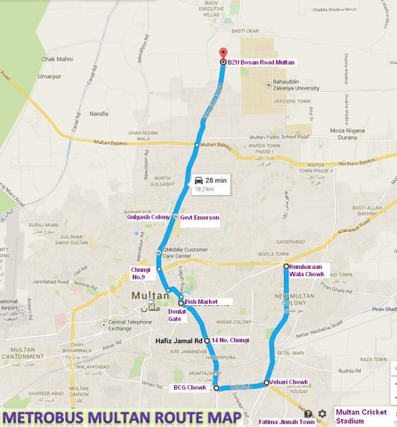 Metro Bus Multan Complete and Final Route Map (BZU to Jinnah Chow (Chowk Kumharanwala)