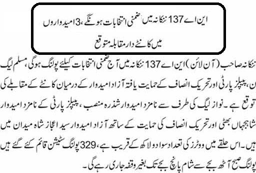 Nankana Sahib By election NA-137 Result