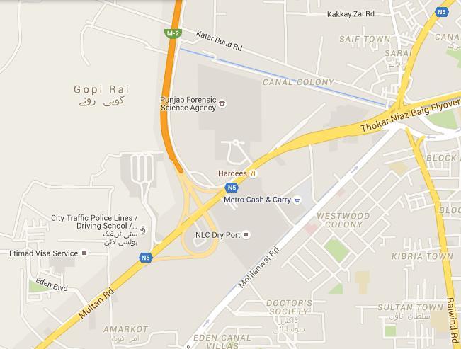 City Traffic Police Driving School Thokar Niaz Baig Lahore - Location Map