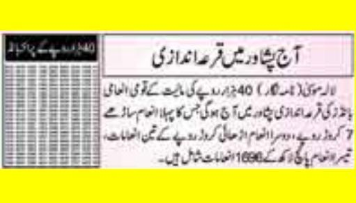 Prizebond Draw Result in Peshawar for Rs 40000 Monday June 1 2015