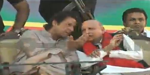 Ch Sarwar with Imran Khan in Hafizabad