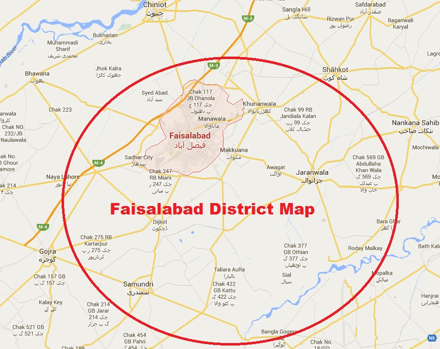 Faisalabad District Complete Detail Map