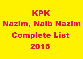 KPK Nazim and Naib Nazim Complete List District and Tehsil Wise 2015