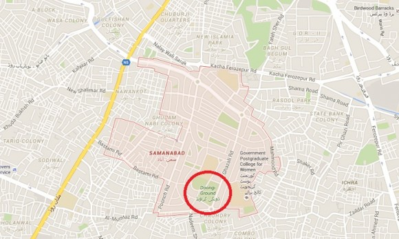 Doongi Ground Lahore - Location Map of Imran Khan Jalsa 4-10-2015