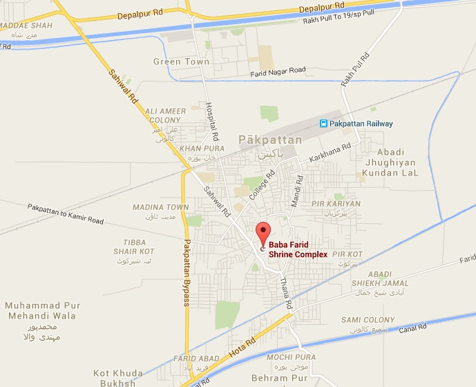 Location Map Baba Fareed Mazar Pak Pattan