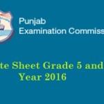 PEC Date Sheet 2016 - Grade 5, 8