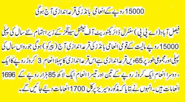 Prize bonds Draw Result Rs 15000 Jan 4, 2016